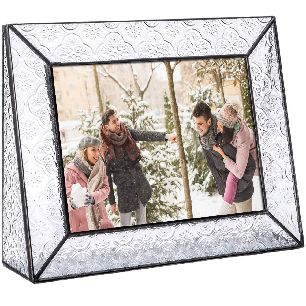 Clear Glass Picture Frame 5x7 Horizontal Photo Display Desk or Tabletop Vintage Home Décor Family Wedding Anniversary Engagement Graduation Baby Gift J Devlin Pic 126 Series by J Devlin Glass Art