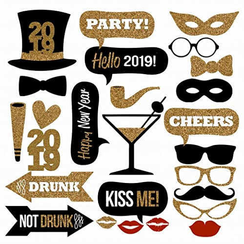 25PCS 2019 New Year's Eve Party Card Masks Photo Booth Props Supplies Decorations by 7-gost