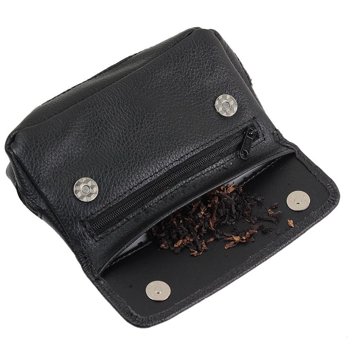 Leather Cigarette Smoking Pipe Tobacco Pouch Case Bag for 2 pipes Holder Soft Genuine Leather pocket-Gift for Smokers (Style 1)