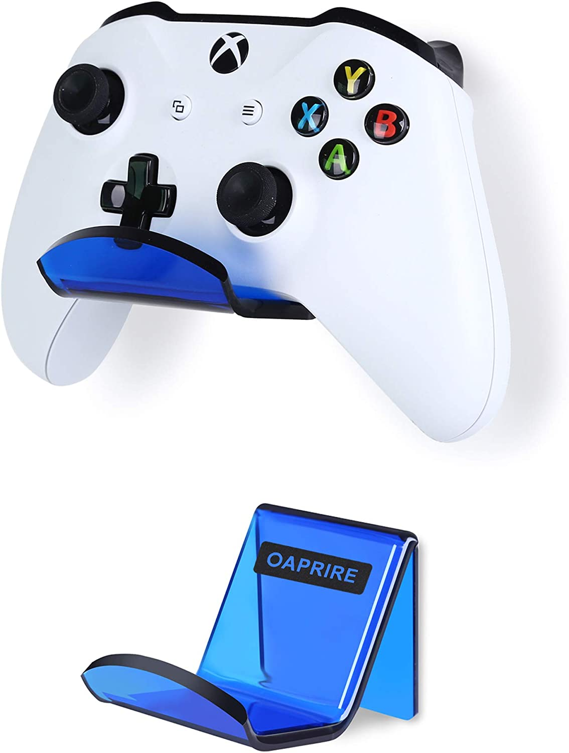 OAPRIRE Controller Holder Stand Wall Mount (2 Pack) - Perfect Display and Storing Modern&Retro Controller - Best Controller Hanger Kit with Cable Clips - Create Exclusive Game Fortresses (Clear Blue)