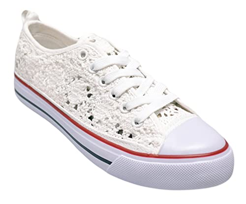 dabdf08c23 Shop Pretty Girl Women's Casual Canvas Shoes Solid Colors Low Top Lace Up  Flat Fashion Sneakers (7, White Crochet): Buy Online at Low Prices in India  ...