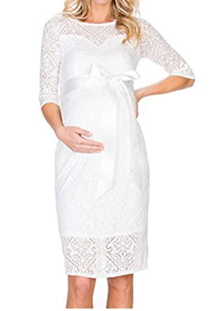 7900985b4f741 D-Pink Women Maternity Dress Floral Lace Pregnancy Skirt Evening Party Midi  Dress (White, XL): Amazon.co.uk: Clothing