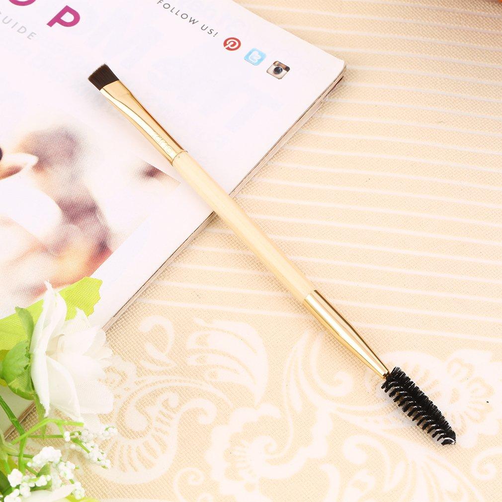 Nicedeal Fine bamboo handle Makeup tools double eyebrow brush Eyelash brush Eye makeup