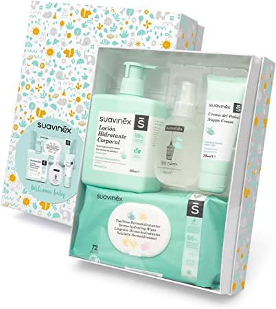 Canastilla de cosmética regalo para recién nacido con los productos imprescindibles para el cuidado