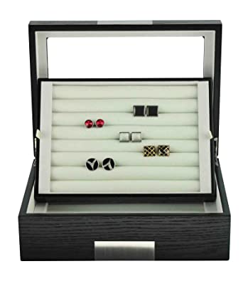 Amazoncom Black Ebony Wood Cufflink Case Ring Storage Organizer