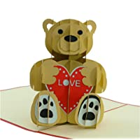 Love Bear - 3D Popup Greeting Card, Love Card, Anniversary Card, Thank You Cards, Invitation Pop Up Cards, Romantic Birthday Cards, Congratulations Card, Xmas Cards (Light Red)