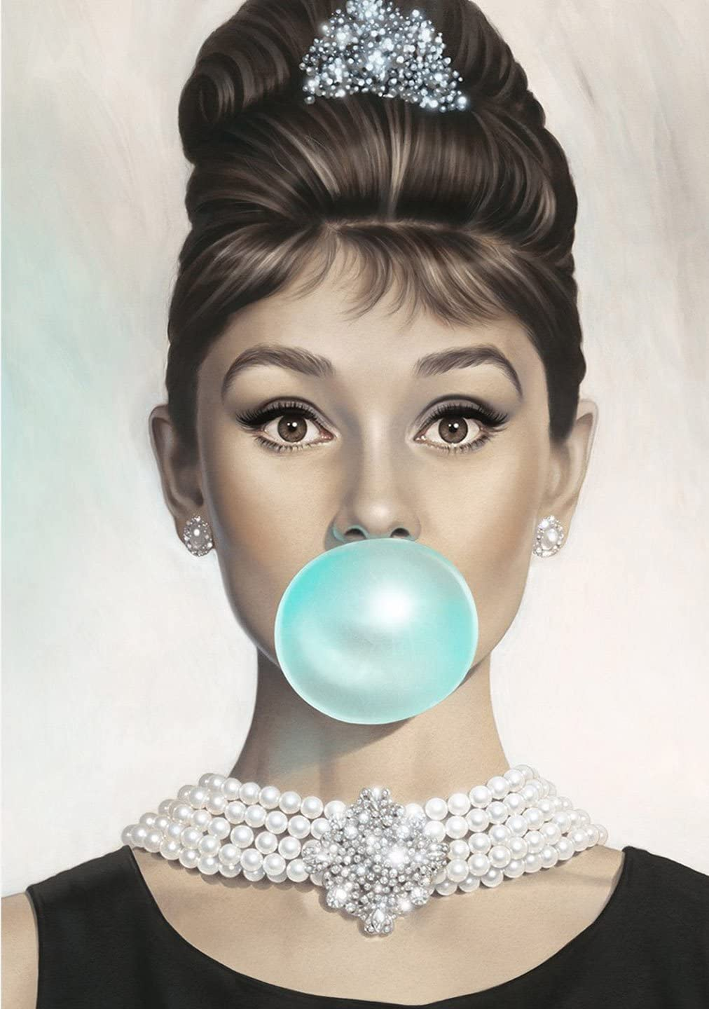 VAN EYCK Audrey Hepburn Tiffany blue Bubble Gum Canvas Poster Wall Art for Guest Bedroom Decor Kitchen decoration Living Home Decorations(12x16 inch unframed)
