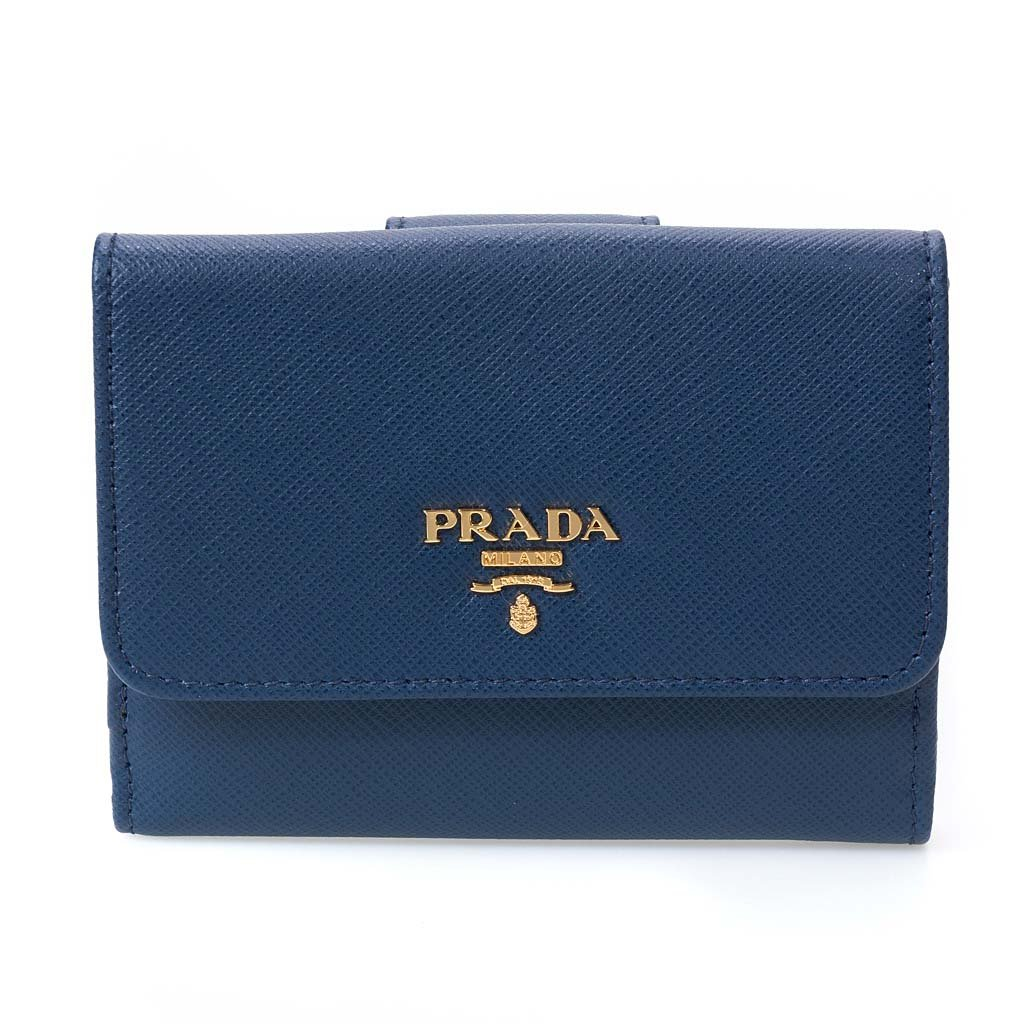 (プラダ)PRADA 二つ折り財布 1MH523 QWA 取寄商品 [並行輸入品] B075GH5TJ5 ブルー ブルー