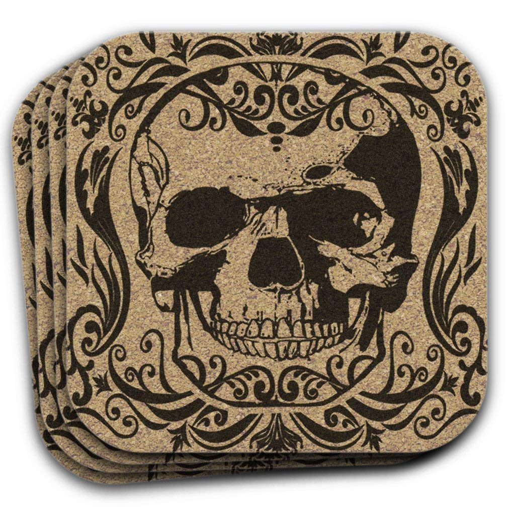 Filigree Skull Cork Drink Coasters Gift Set Of 4 Gothic Halloween Decor
