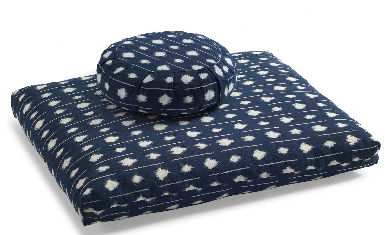 DharmaCrafts Ikat Zafu and Zabuton Set Meditation Cushions kasuri Handwoven Cloth Two Tone Lines//Indigo SSC05LnSSC02L ZZSet