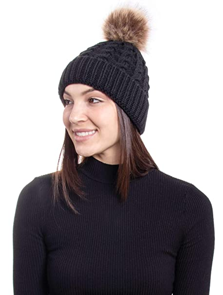 69e0ad45e Hemantal Womens Winter Warm Cable Knit Slouchy Beanie Hat with Faux Fur  Pompom