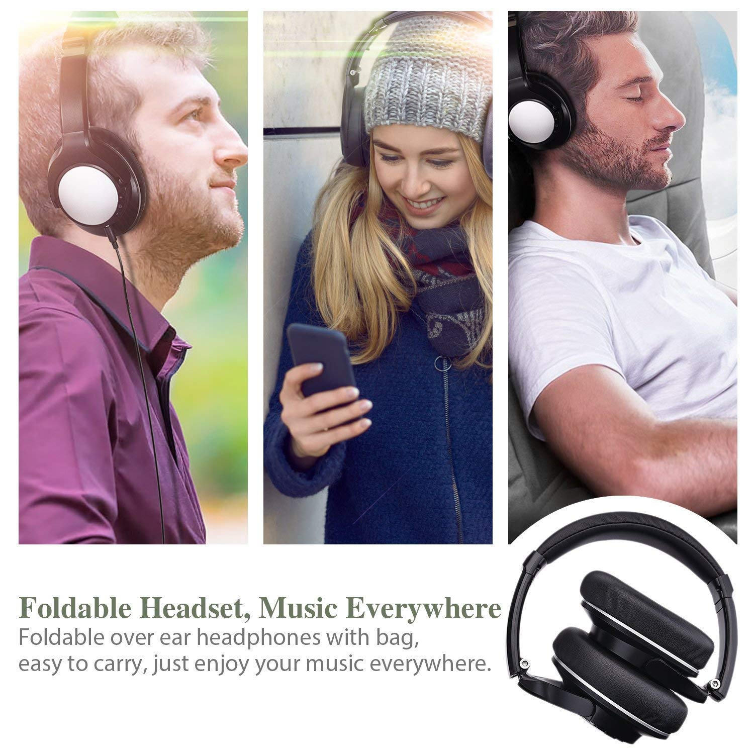 Bluetooth Headphones Over Ear, Zintou Hi-Fi Stereo Wireless Headset Foldable Noise Cancelling Soft Earmuffs Microphone Headphones with 3.5mm Backup Wired AUX Cable Wired Mode for PC Cell Phones
