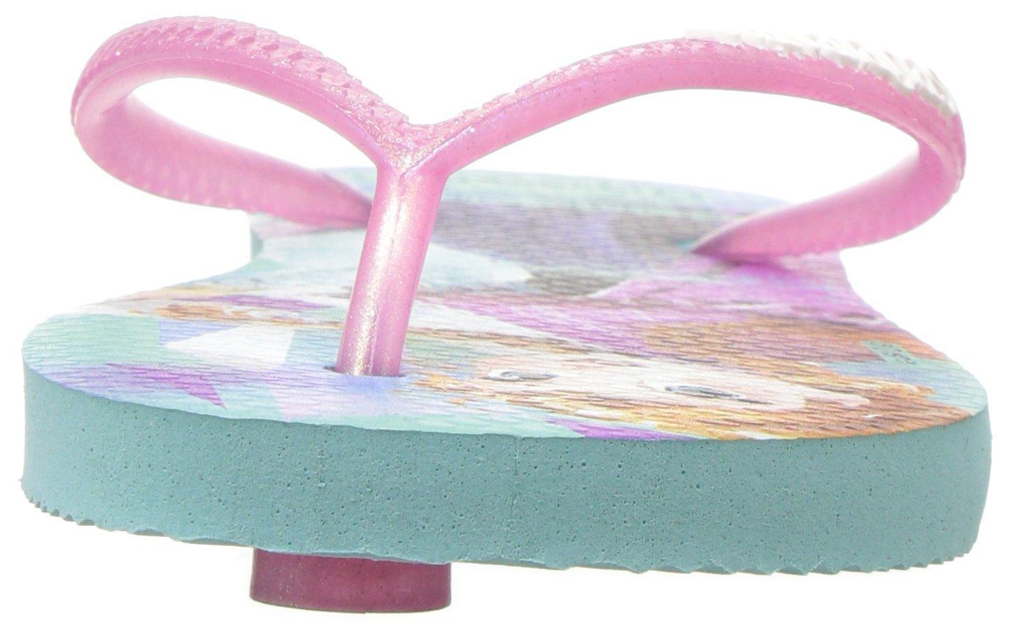 Havaianas Girls Slim Flip Flop Sandals, Kids, Frozen, Elsa & Anna,Green/Pink,25/26 BR (10 M US Toddler) by Havaianas (Image #4)