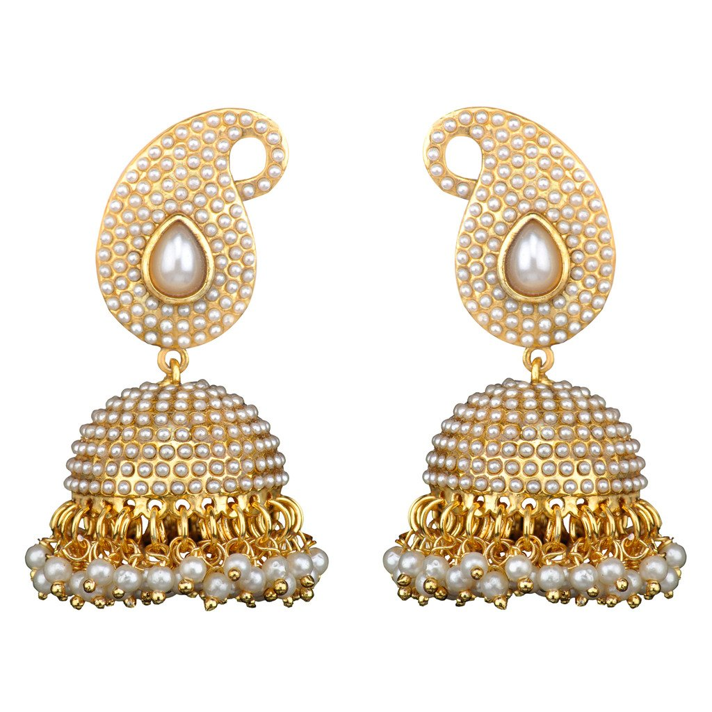 3342223877b9d Traditional Indian Bollywood Necklace Set Golden Pearl Polki Jhumka  Earrings SetSAEA0883BL