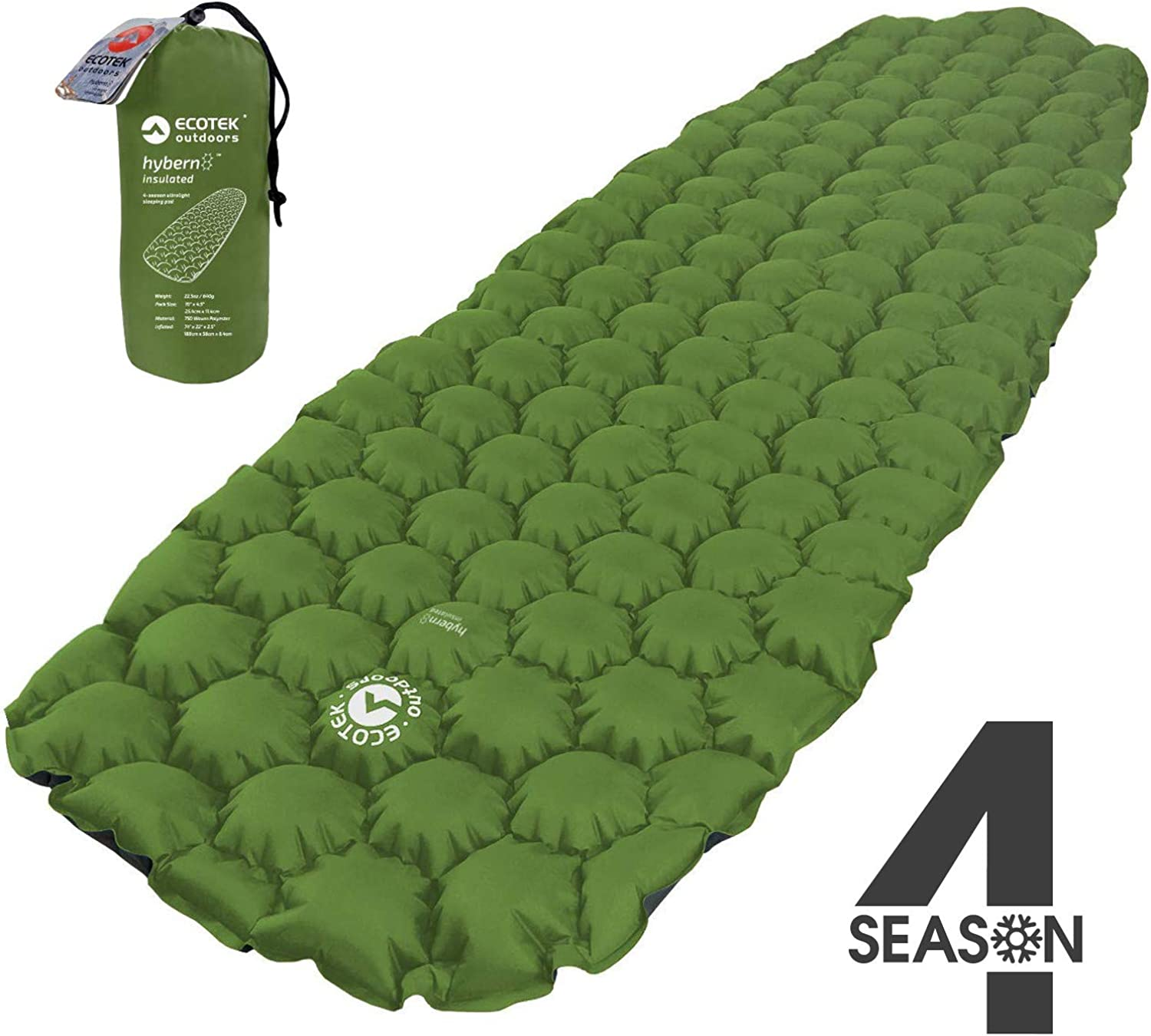 ECOTEK Outdoors Insulated Hybern8 4 Season Ultralight Inflatable Sleeping Pad with Contoured FlexCell Design – Easy, Comfortable, Light, Durable, Hammock Approved – Sub Zero Temp Rating