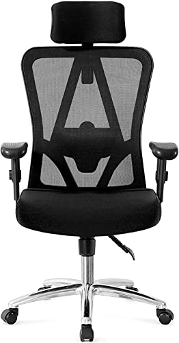 Ticova Ergonomic Office Chair with Adjustable Headrest, Armrest and Lumbar Support – High Back Mesh Office Chair with Thick Seat Cushion – Reclining Computer Desk Chair