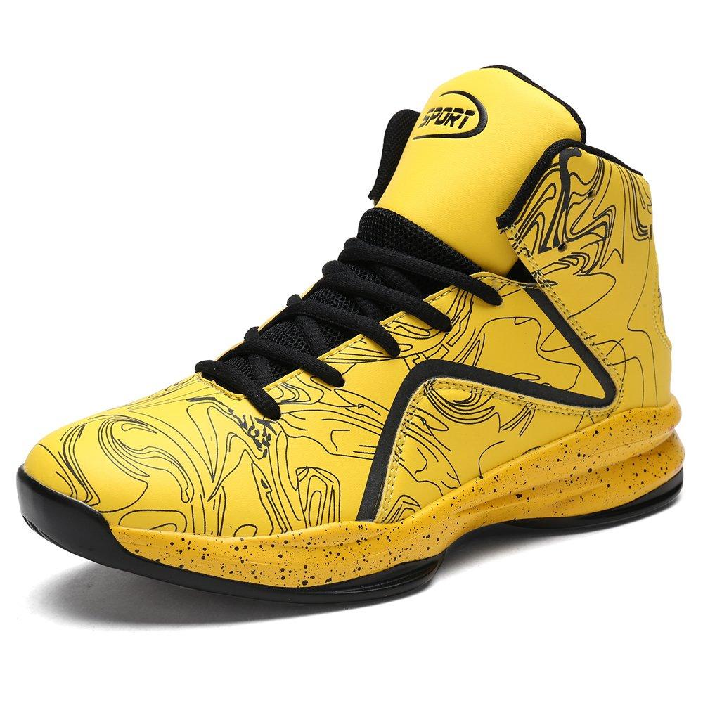 LANSEYAOJI Hombre Zapatillas de Baloncesto Calzado Deportivo Al Aire Libre Moda High-Top Sneaker Antideslizante Zapatillas de Deporte Ligeros Zapatos para Correr Transpirable Lace Up EUYJ-F8