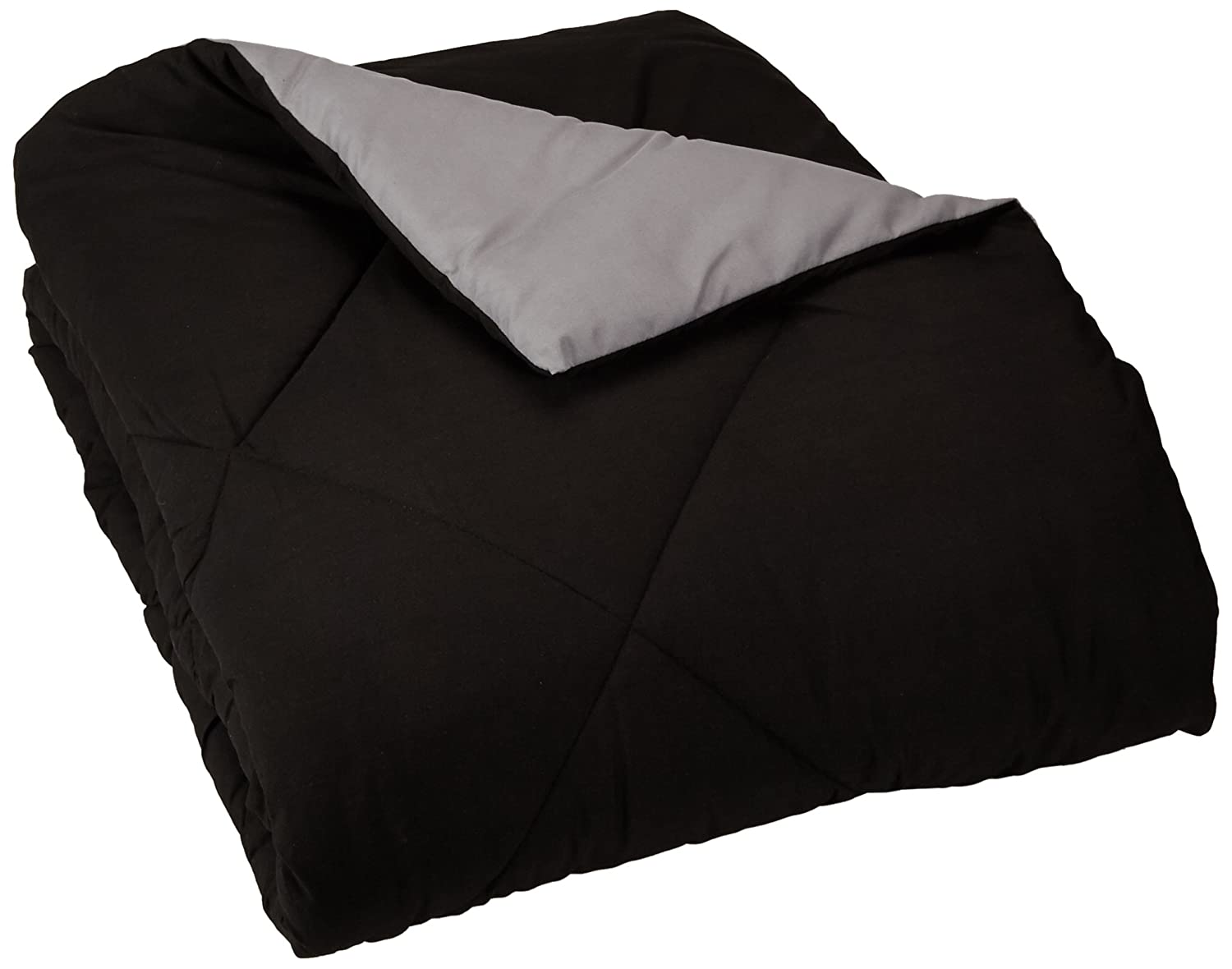 [Apply coupon] AmazonBasics Reversible Microfiber Comforter - Twin/Twin Extra-Long, Black