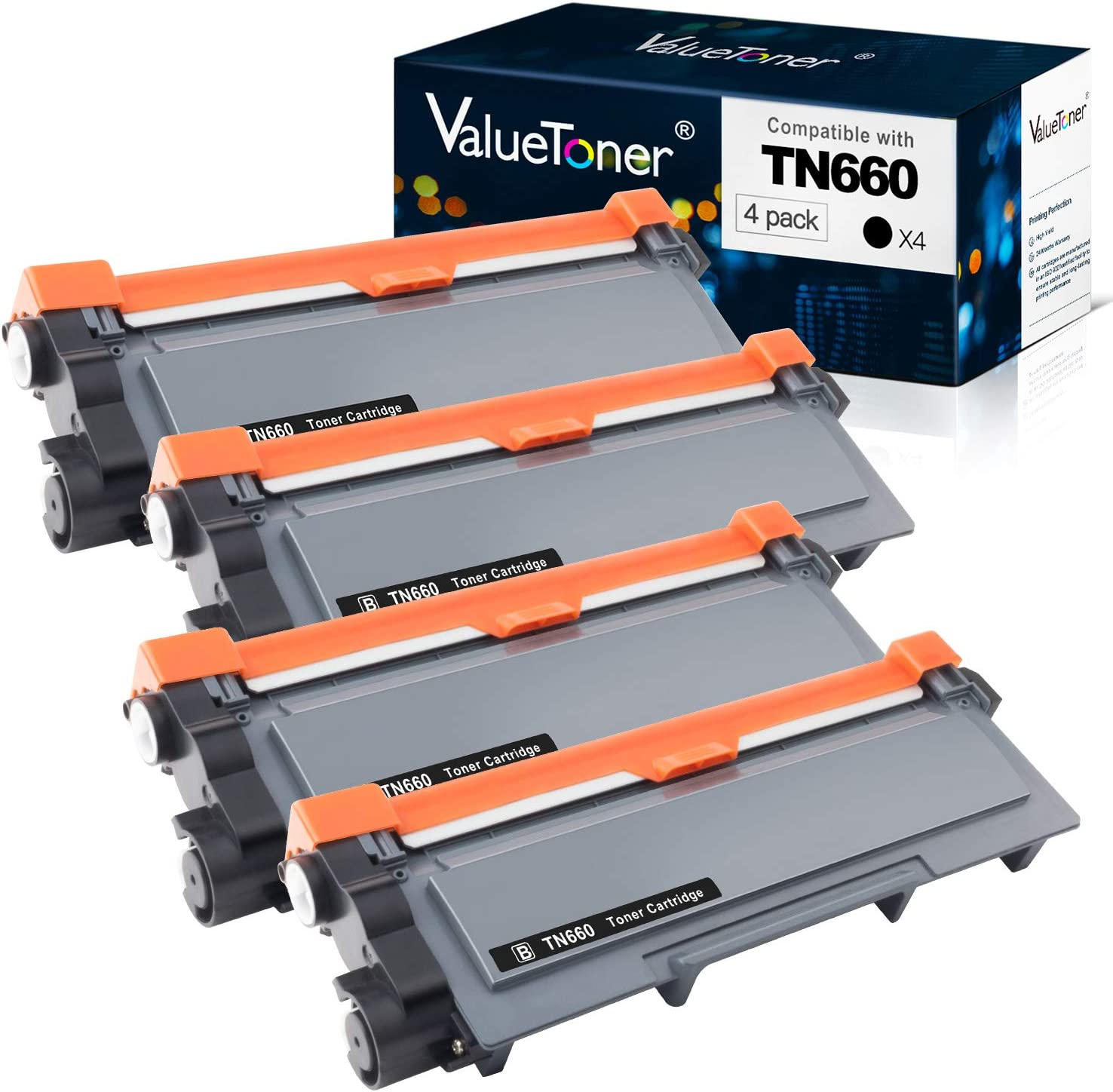 Valuetoner Compatible Toner Cartridge Replacement for Brother TN660 TN-660 TN630 TN-630 High Yield to use with HL-L2300D HL-L2320D HL-L2340DW HL-L2360DW MFC-L2720DW MFC-L2740DW DCP-L2540DW (4 Pack)