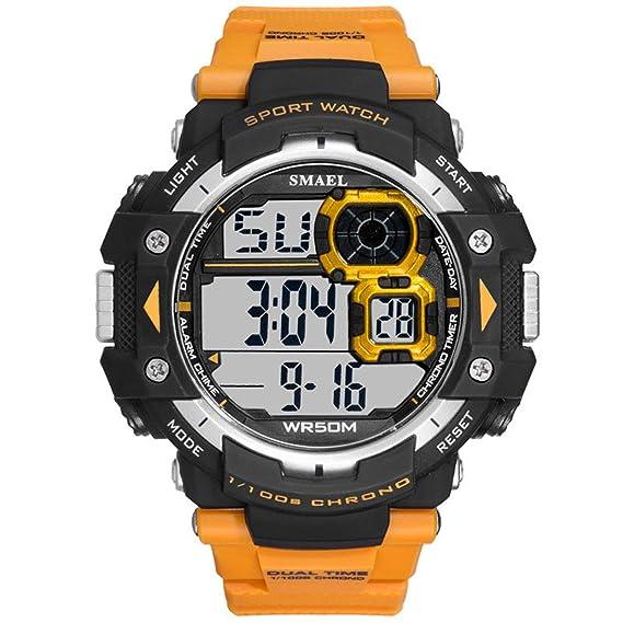 Beydodo Reloj a Prueba de Golpes Reloj Impermeable Reloj de Estudiante Relojes Electronicos Reloj Hombre Reloj Deportivo Naranja: Amazon.es: Relojes