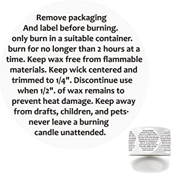 2 Candle Warning Labels for Soy Waterproof Candle Jar Container Stickers Wax Melting Safety Stickers 320 Labels Per Roll for Candle Jars,Tins and Votives