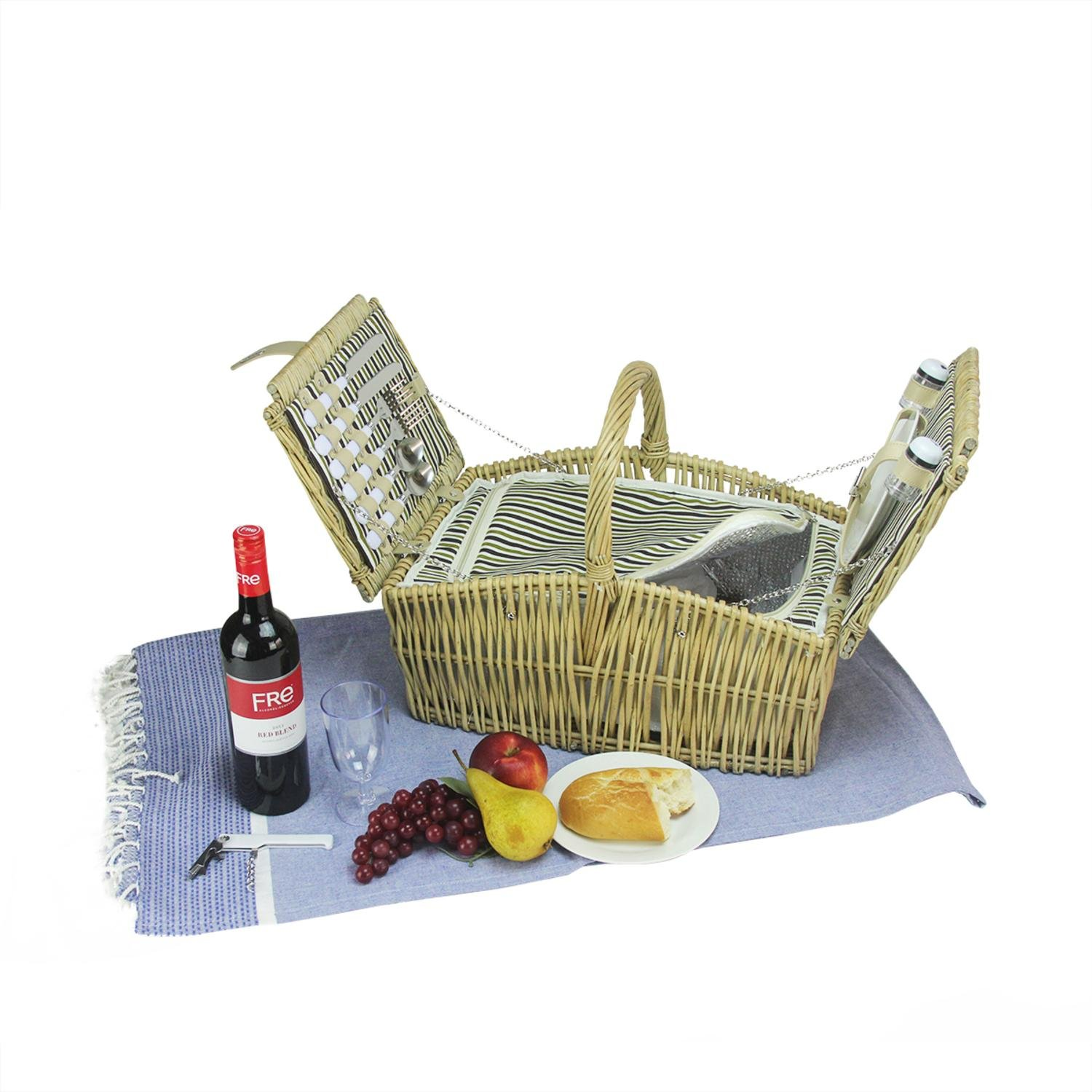 Northlight CH36820 Hand Woven Warm Gray and Natural Willow Picnic Basket Set
