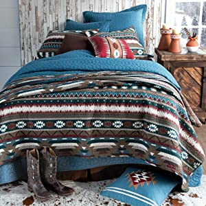 C&F Home Wyatt Southwestern Stripe and Graphic Shape Reversible Blue Quilt.in Maroon, Blue, and Brown Colors. Bedding Set King