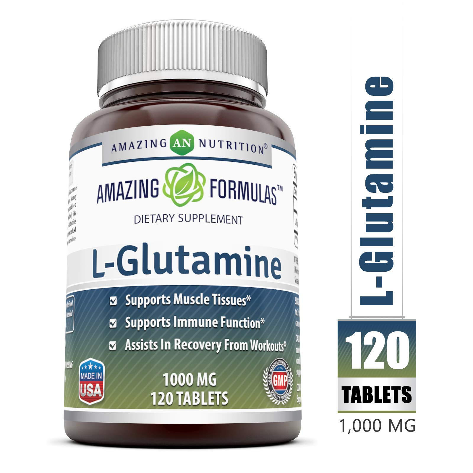 Amazing Formulas L Glutamine Tablets Supplement - 1000mg 120 Tablets Per Bottle - Promotes Workout Recovery, Supports The Immune System & Muscle Maintenance by Amazing Nutrition