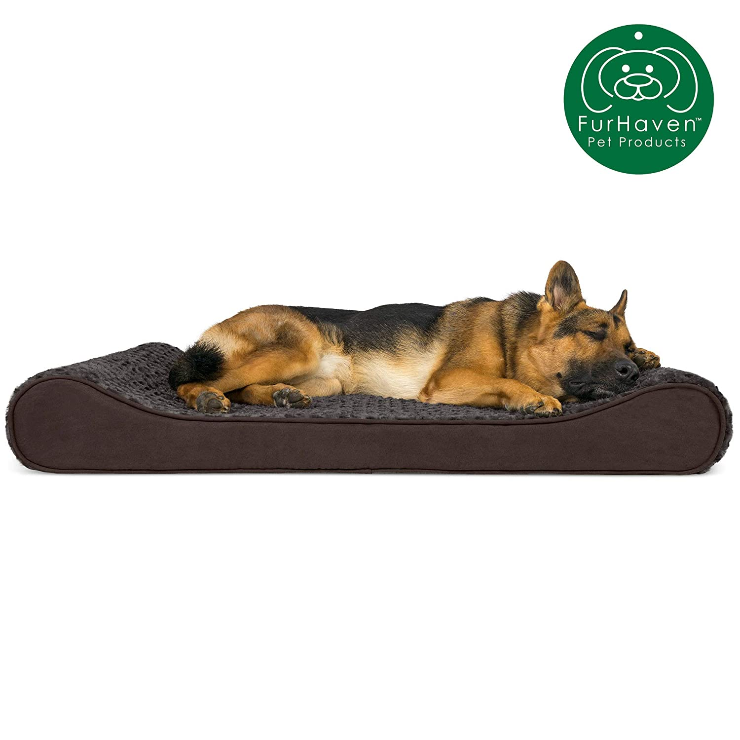 Furhaven Pet Dog Bed Orthopedic Ergonomic Luxe Lounger Cradle Mattress Pet Bed w Removable Cover for Dogs Cats – Available in Multiple Colors Styles