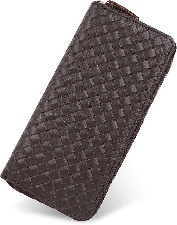 GSG - Cartera de piel auténtica para hombre, gran capacidad, de lujo, de piel de vaca, con bolsillo con cremallera, unisex, color marrón