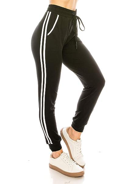 4dbbb4832c6c1d ALWAYS Women Joggers Lounge Sweatpants - Super Light Soft Solid Pockets  Drawstrings Line Striped Pants Black