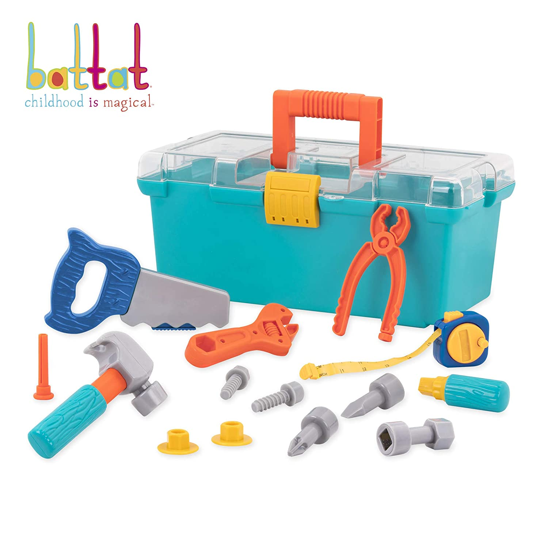 Battat – Builder Tool Box – Durable Kids Tool Set – Pretend Play Construction Tool Kit For Kids 3 Years+ (15-Pcs)