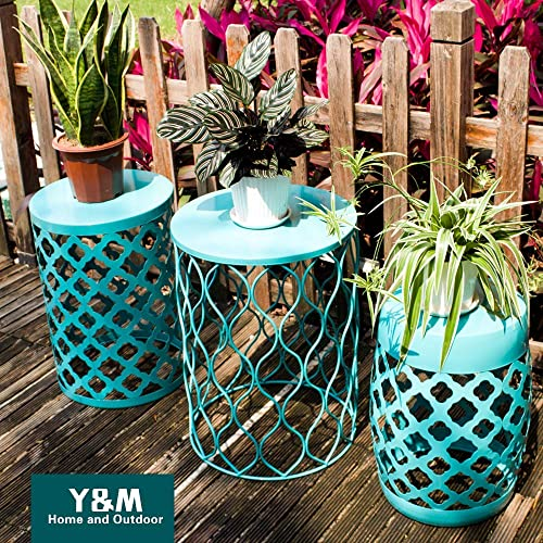 Y M Round Metal End Table,Side Table for Indoor Outdoor Use,Plant Stand,Garden Stool Set of 3 Turquoise