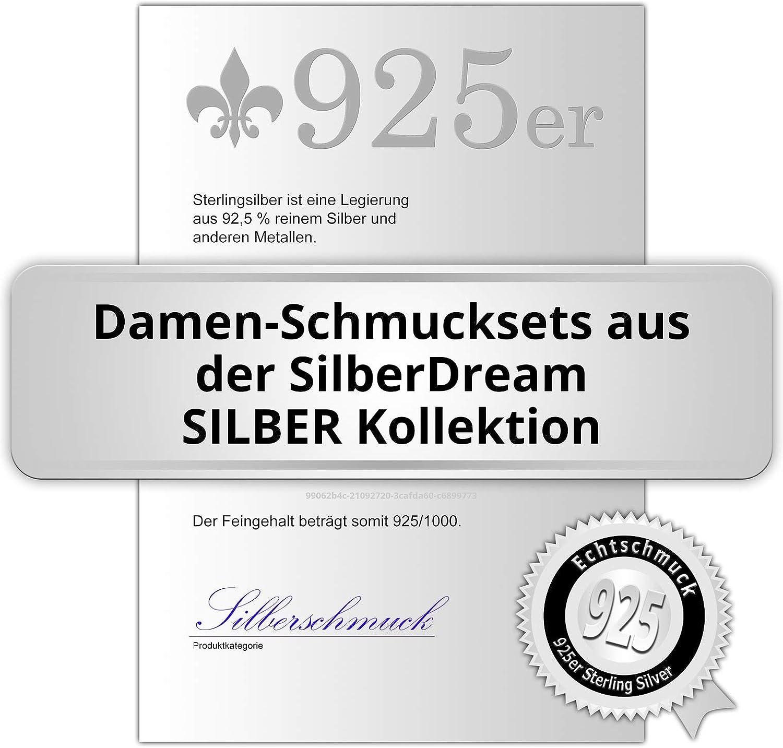 SilberDream SDS4901W Elegance Ensemble pendentif et boucles doreilles avec zircons Argent v/éritable