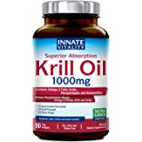 Krill Oil with Omega3s Phospholipids and Astaxanthin 1000mg per Serving, 60 Softgels, Superior Absorption, Non-GMO…