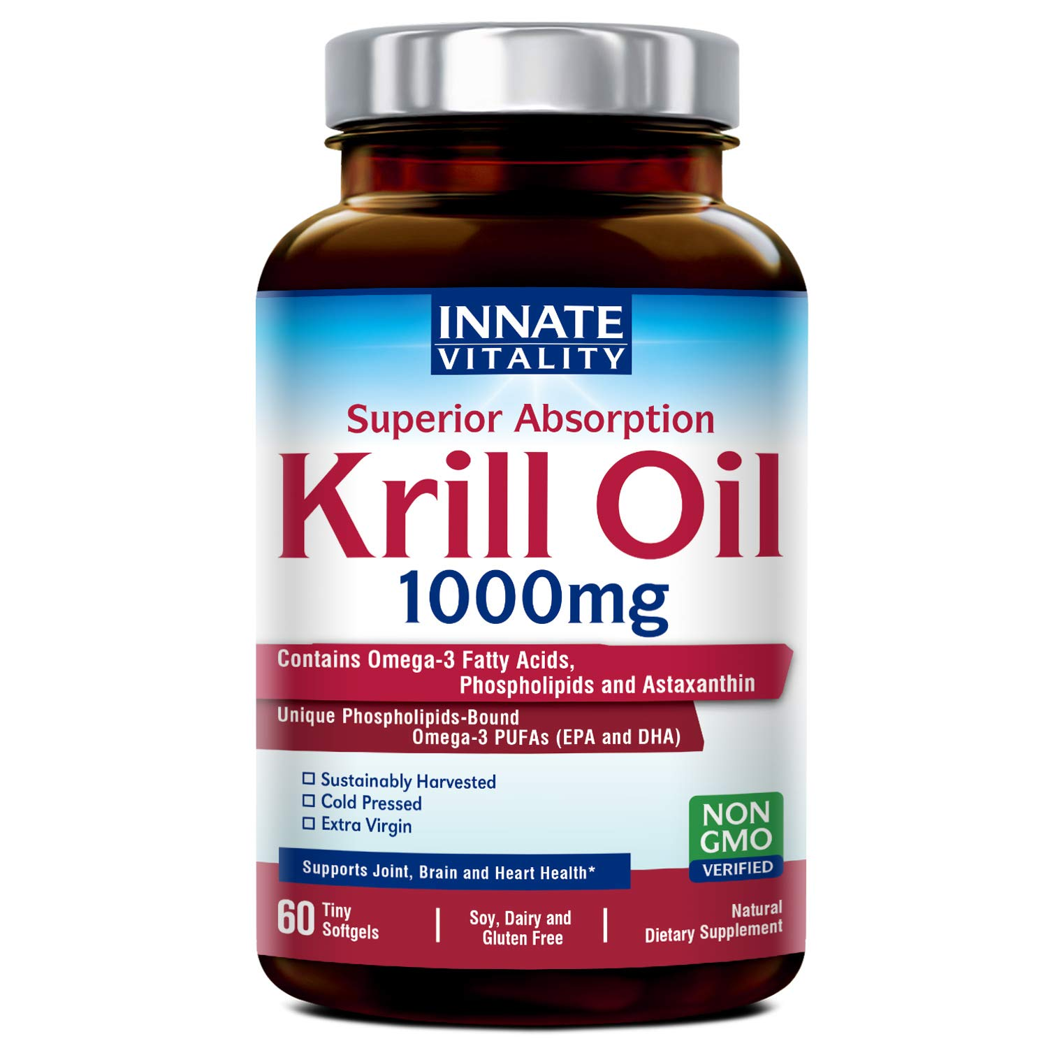 Krill Oil with Omega3s Phospholipids and Astaxanthin 1000mg per Serving, 60 Softgels, Superior Absorption, Non-GMO, NO Gluten NO Dairy NO Soy, Supports Joint, Brain and Heart Health, Made in USA