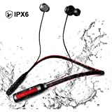 JIYISHIHOU Wireless Headphones, In-Ear Wireless headphones, Sweatproof Wireless earbuds with Mic, Noise Cancelling hedphones for Running and Exercising (CSR 4.1, 10 Hours Play Time,red)