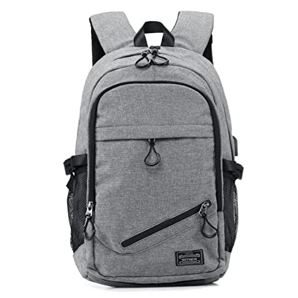 64fc8dde5a84 KEYNEW Laptop Backpack with USB Charging Port for Men Water Resistant  Computer Backpacks Fit 15.6 Inch Laptop - Gray  Amazon.ca  Luggage   Bags