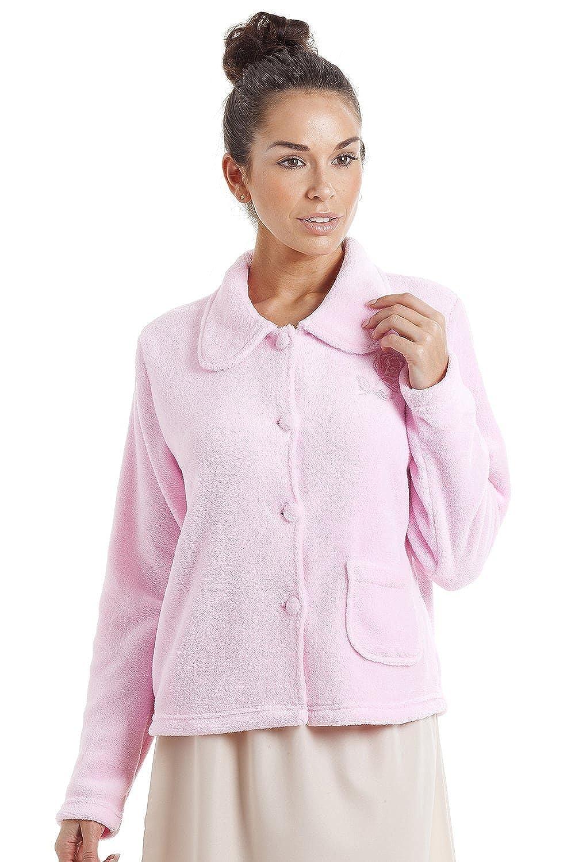 Camille Giacca pigiama in pile morbido caldo con bottoni - 42-56 - rosa