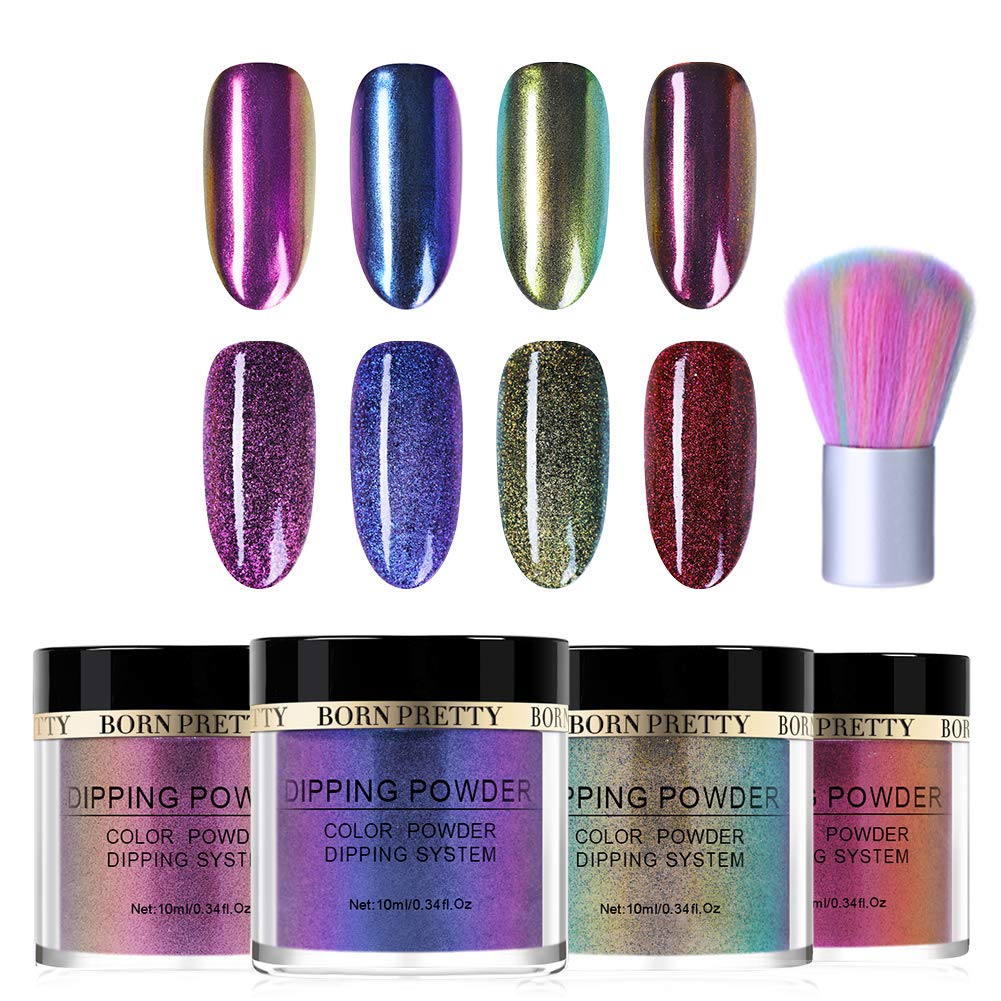 BORN PRETTY Chameleon Dipping Nail Powder System 4 Boxes Set Without Lamp Cure Natural Dry Mirror Effect Glitter 1 Pc Soft Nail Cleaning Brush by Born Pretty