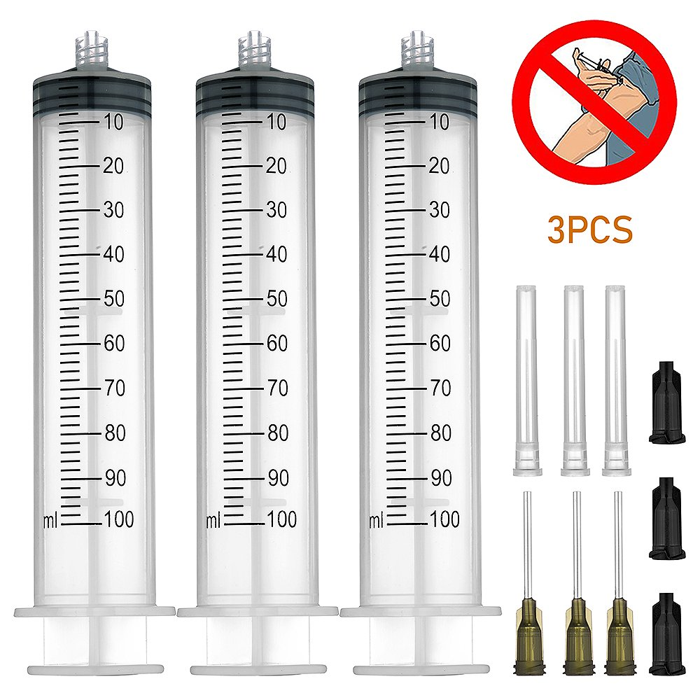 3 Pack 100ml Syringes with 14Gx1.0'' Blunt Tip Fill Needles and Storage Caps(Luer Lock)