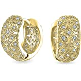 Victorian Style Filigree Flower CZ Accent Wide Huggie Hoop Earrings For Women Cubic Zirconia Silver Rose Gold Plate