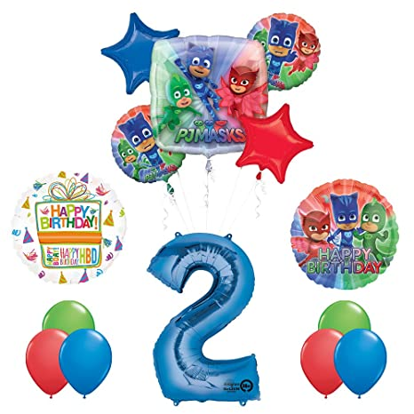 Mayflower Products The Ultimate PJ MASKS 2nd Birthday Party Supplies and Balloon decorations