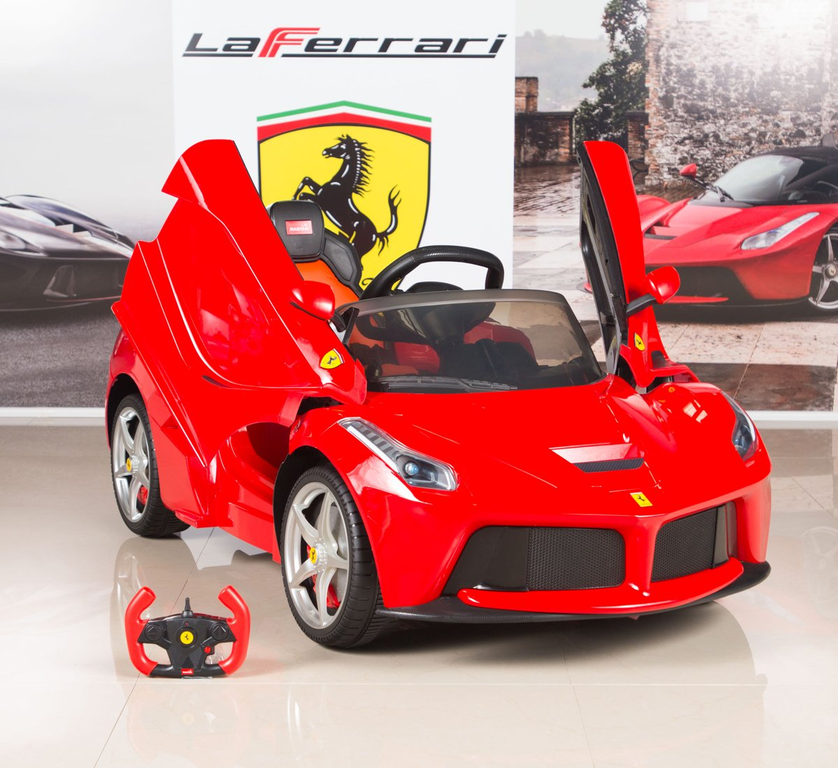 amazoncom big toys direct kids 82700 rastar la ferrari electric ride on car with mp3 and remote control 12v red toys games