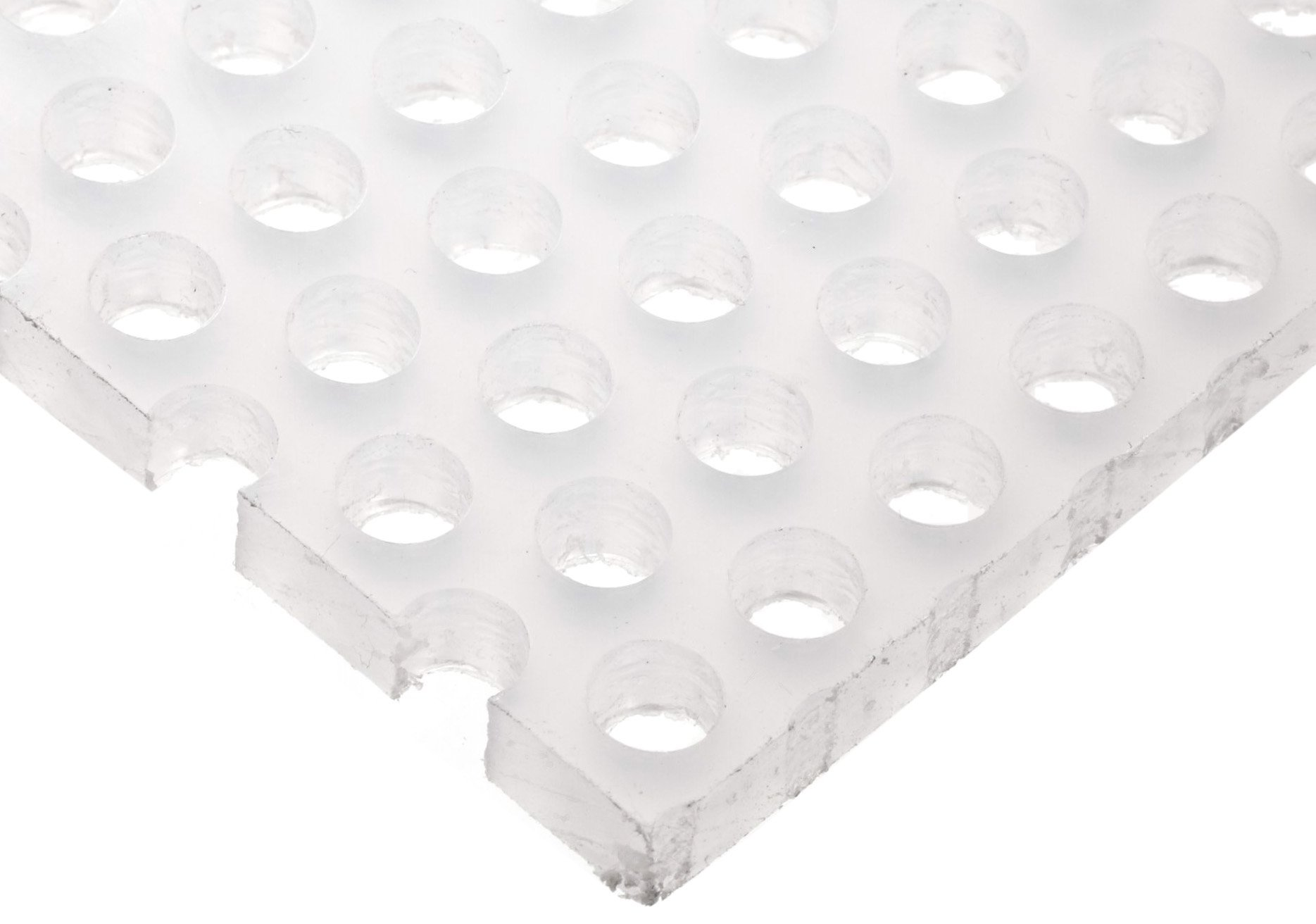Polypropylene (PP) Perforated Sheet, Straight Holes, Opaque White, 0.250'' Thickness, 12'' Width, 12'' Length, Straight 1/4'' Holes, 0.375'' Center to Center
