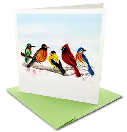 Amazon song birds quilling greeting card 6x6 with envelope song birds quilling greeting card 6x6 with envelope any occasion blank inside m4hsunfo