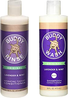 product image for Cloud Star Shampoo and Conditioner Lavender & Mint Combo Pack for Dogs: (1) Buddy Wash 2 in 1 Shampoo + Conditioner and (1) Buddy Rinse Hydrating Therapy Conditioner (2 Bottles Total, 16 Ounces Each)