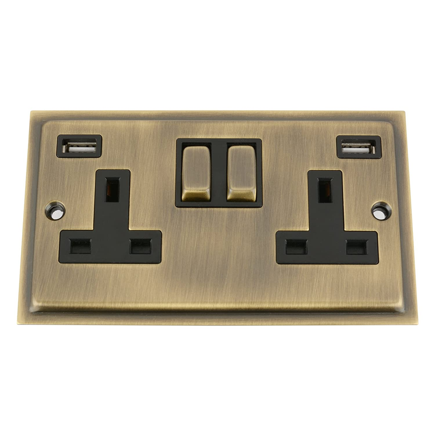 Antique Brass Slimline/Elegance USB Socket 2 Gang Black Insert Metal Rocker Switch (3100mA) A5 Products Ltd