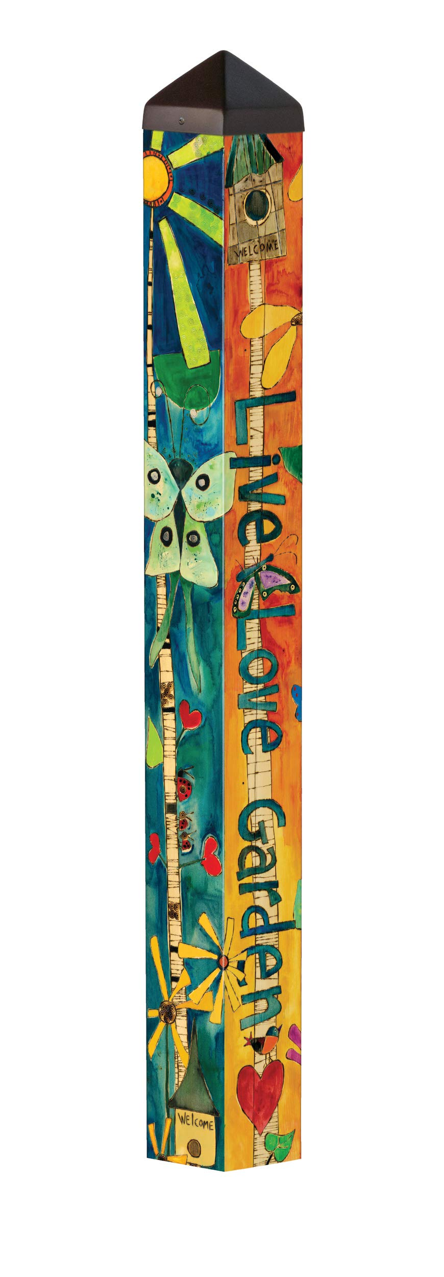 Studio M Love Garden Art Pole Bold Floral Outdoor Decorative Garden Post, Made in USA, 40 Inches Tall by Studio M (Image #2)
