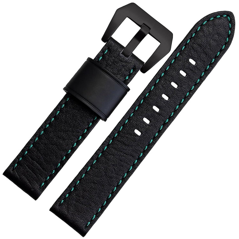 [エイト]腕時計ベルト 20mm 緑糸×ブラック レザー ELB097 [並行輸入品]  B01N6FZK7V